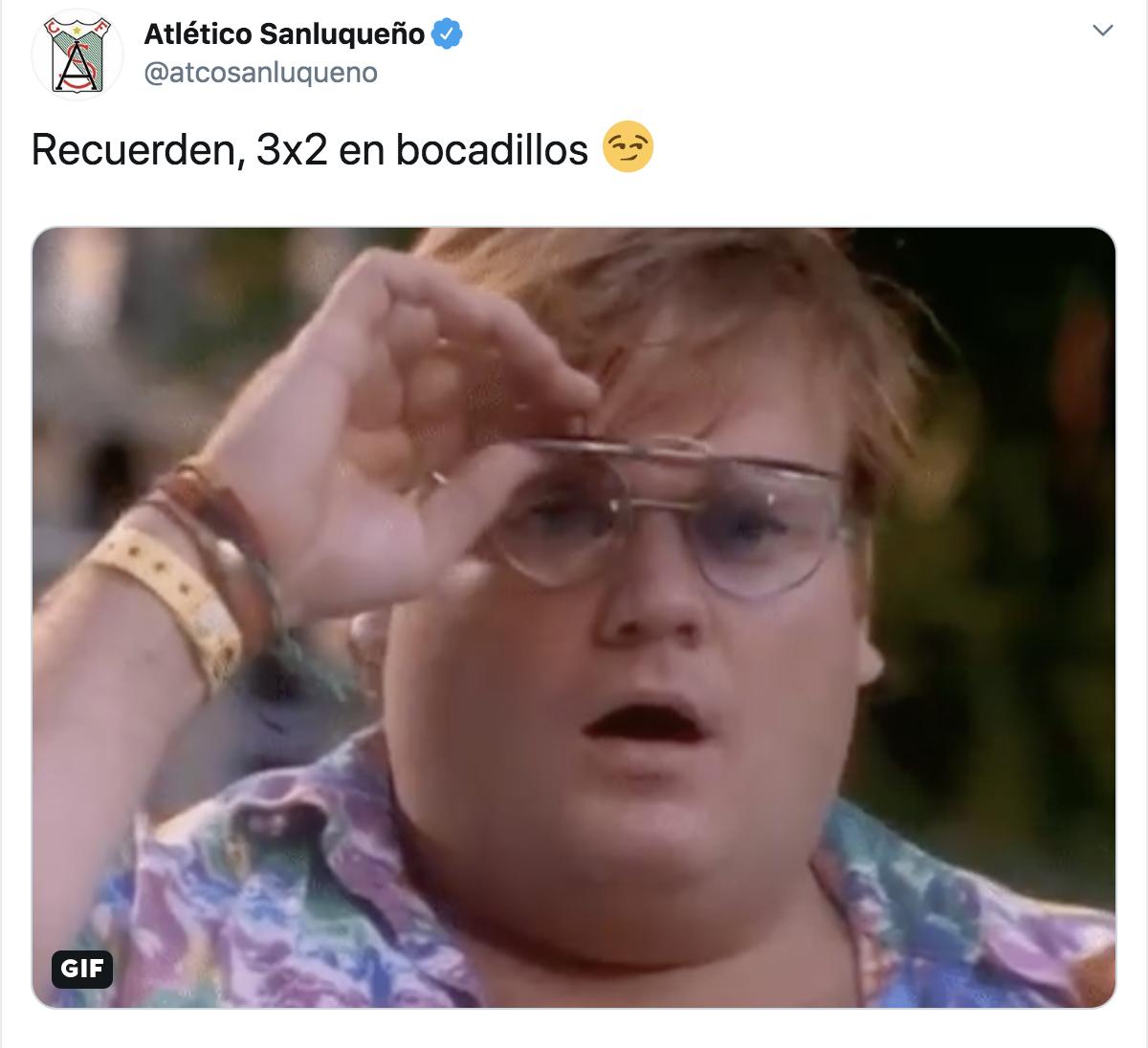Cuenta de Twitter del Sanluqueño ofreciendo oferta de bocatas