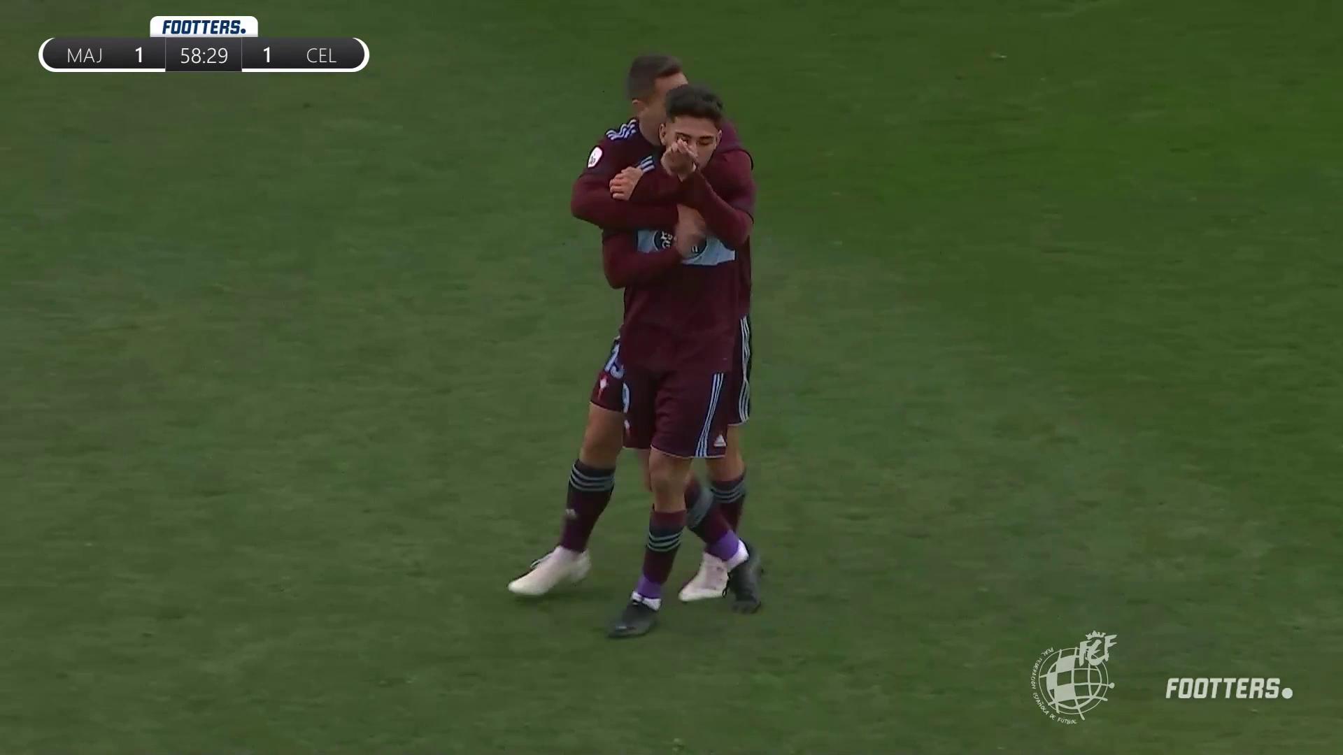 Javi Gómez del Celta B celebrando el gol