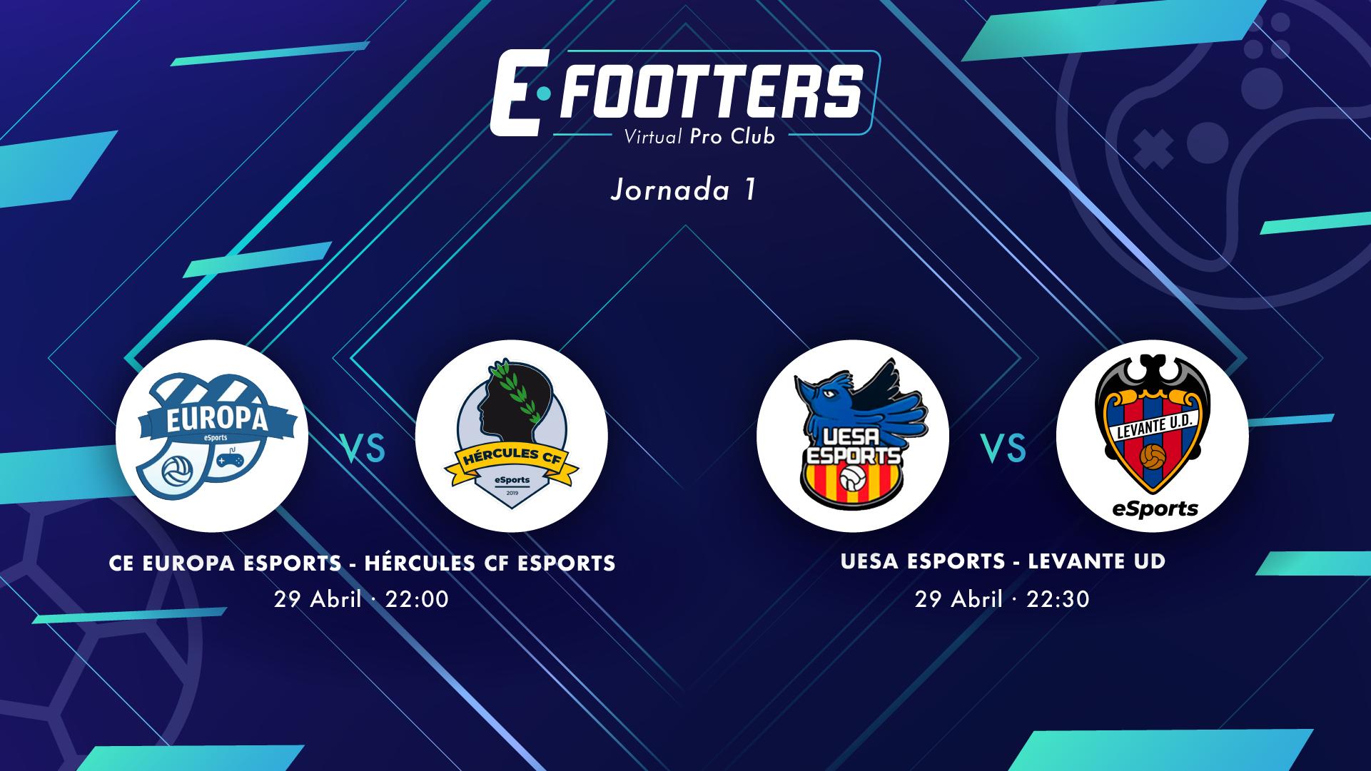 Imagen con la información de los partidos del 29 de abril: CE Europa - Hércules CF y UESA eSports - Levante UD eSports
